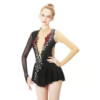 Black Figure Skating Dress Long-Sleeved Ice Skating Skirt Spandex Made In China