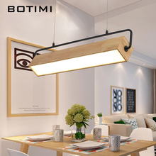 BOTIMI Modern Adjustable LED Pendant Lights With Wood Frame For Dining Room Wooden Rectangle Hanglamp Suspension Light