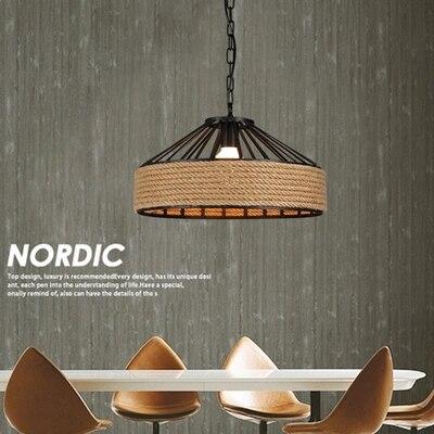 American Loft Style Hemp Rope Droplight LED Pendant Light Fixtures For Dining Room Hanging Lamp Vintage Industrial Lighting