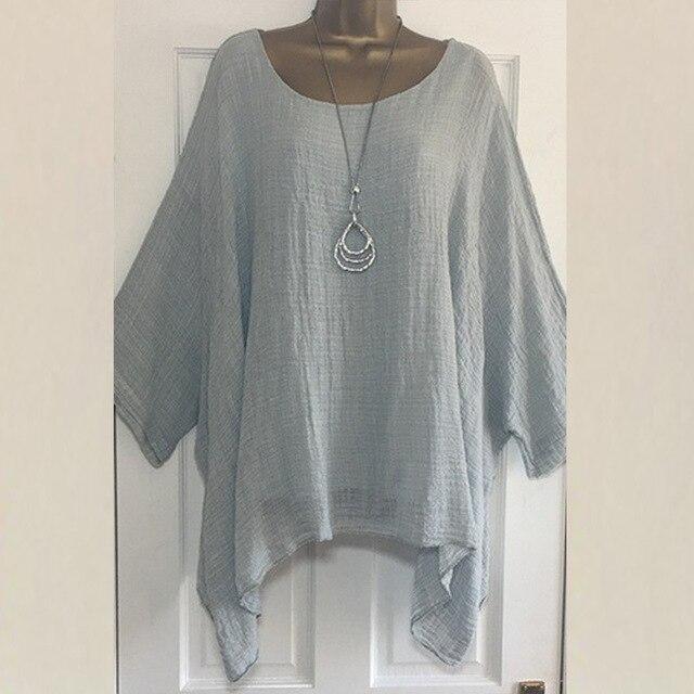 2019 Women t-shirts Plus Size 5XL T-Shirt Linen O Neck Casual Loose Shirt Summer Autumn New Solid Batwing Long Sleeve