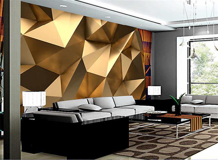 На заказ фото настенная бумага 3D стерео абстрактное пространство Золотой Геометрическая Фреска современное искусство креативная гостиная отель исследование настенная бумага 3 D