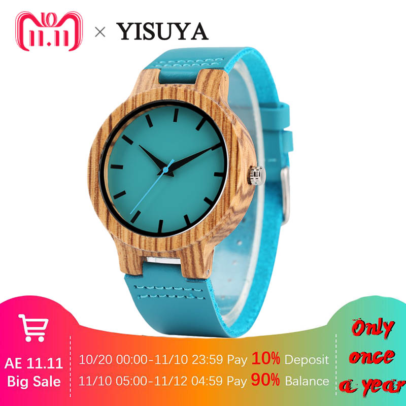 YISUYA Vogue Blue Bamboo Wood Watch Man Handmade Natural Wood Analog Quartz Wristwatch Top Gifts Genuine Leather Clock Male Hour yisuya minimalist creative new arrival genuine leather quartz fashion trendy wrist watch women nature wood bamboo analog clock