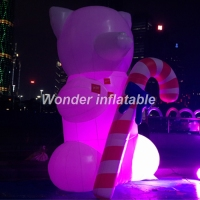 Hot sale 10ft oxford lovely illuminated inflatable teddy bear cartoon with led lights for party decoration