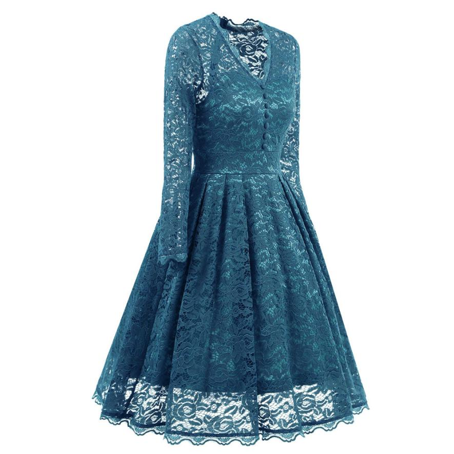 Newest 2018 spring gir party formal dress Womens Long Sleeve Lace Dresses Vintage V Neck Cocktail Party Dress TW