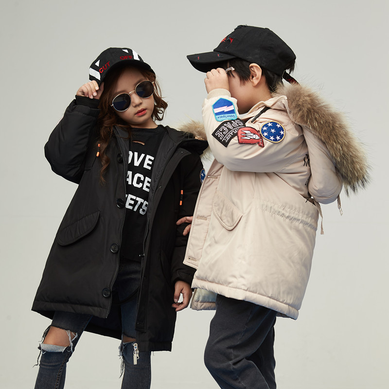 Boy and girl 2017 new long down jacket winter for size 6 7 8 9 10 11 12 13 14 years child thickened hair collar coat outerwear