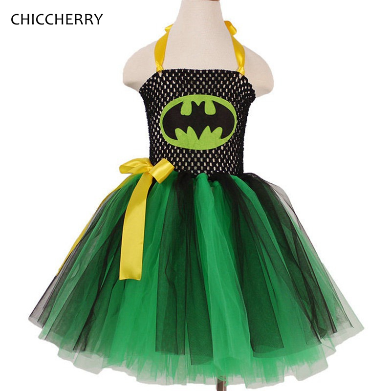 Fancy Batman Baby Girl Dress Princess Toddler Girls Clothes Halloween Cosplay Party Lace Tutu Vestidos De Festa Kids Outfits crown princess 1 year girl birthday dress headband infant lace tutu set toddler party outfits vestido cotton baby girl clothes