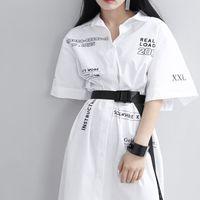 2018 Nuova Promozione di Arrivo Blusas Corpo Donna Camicette Camicie Lettere Larga Cinghia Delle Donne Delle Parti Superiori di Estate Delle Signore Elegante Lungo Camicetta