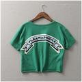P189 Nuevo 2017 Moda Blusa Entallada Camiseta de Las Mujeres Carta Impresa impresión Mujeres de la Camiseta Recortada Tops Camiseta Femme Mujer clothing