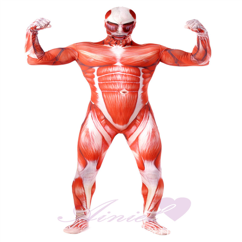 Ainiel Attack On Titan  Lycra Spandex  Cosplay Costume  lTights Muscle Man Halloween Costumes  Adult Men Zentai Bodysuit