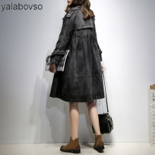 Office Lady Denim Blue Black color windcoat Loose Double Breasted Button Pocket Patchwork Fashion cowboy Coat for woman A0G z20