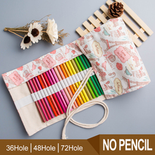 Pencil Wrap 36/48/72 Holes Portable Canvas Roll Up Holder Case Students Stationary Pouch For Painting School Supplies