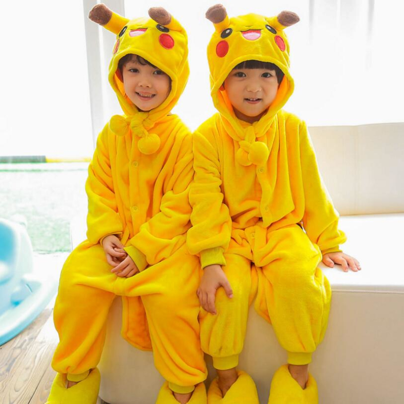 Laste lapsed Jumpsuits Halloweeni karneval New Year Cartoon Kostüümid Onesie Pajamas Pikachu Dinosaurus Cat Minion Tiger Stitch