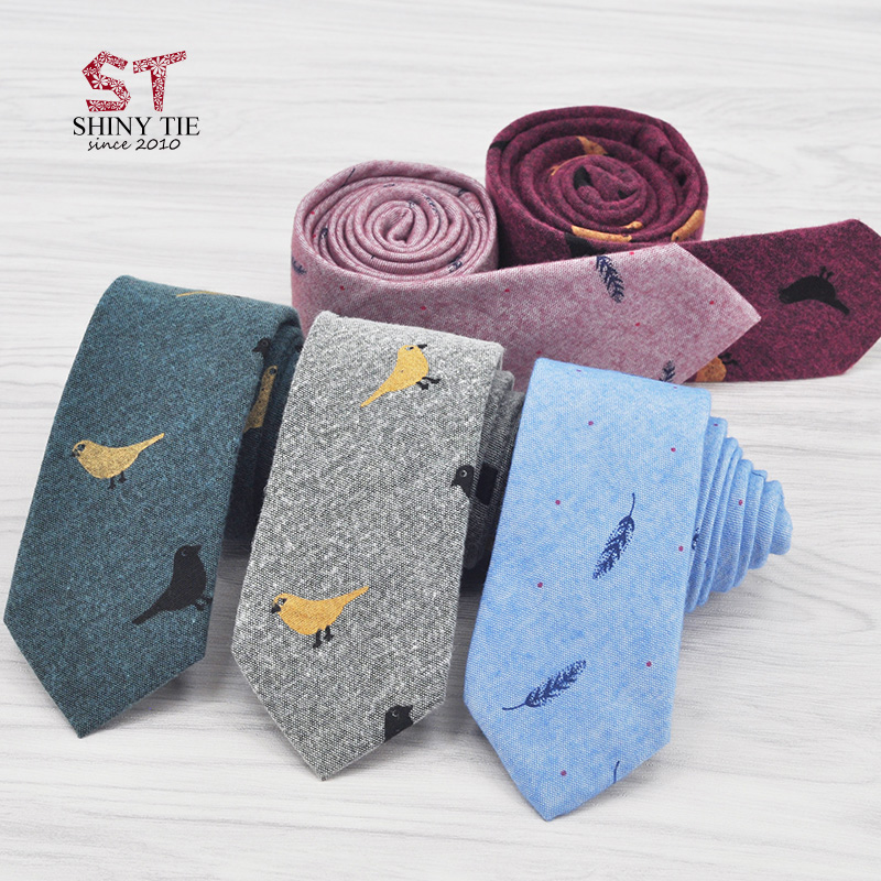 100% Top Cotton Ties For Men New Collections Birds Leaves Printed Neck Tie Soft Artistic Handmade Gravatas Slim Corbatas Cravat
