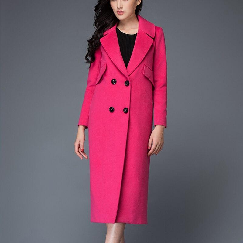 44c9a0b064b0e Supérieure Femmes Laine De Pink Col Breasted Lady Chaud Femme 2019 À Long  black Veste Revers Double Style D'hiver Manteau ...