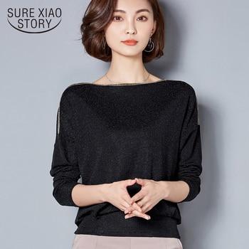 5e3340e5a764 2019 moda mujer camiseta primavera Slash cuello murciélago manga larga  mujeres Camisetas Mujer top sólido Casual talla grande 90B 30