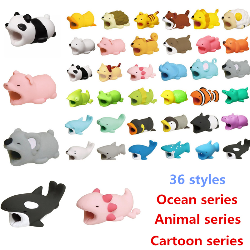 Dropshipping 36 Styles 1 Pcs IPhone Cable Protects Bite Accessory Animals Chompers Elephant Lion Tiger Dog Pig Whale Koala