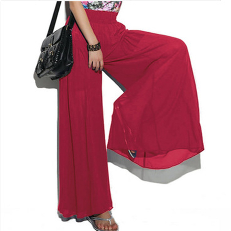Pants   Women 2019 Summer High Waist Loose   Wide     Leg     Pants   Spring Casual Trousers Ladies Red Thin Long Casual high Waist   Pants
