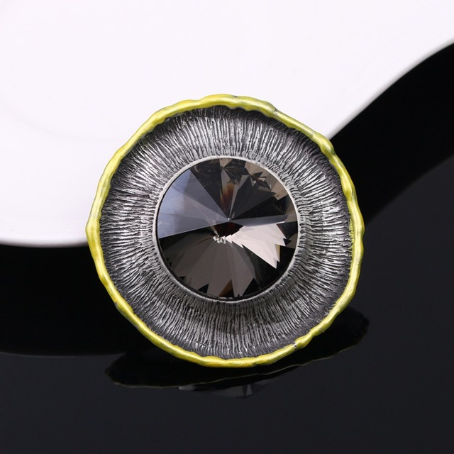 JUJIE Vintage Glass Brooches For Women 2018 Female Round Pins Brooch Lapel Jewelry Hat Accessories Dropshipping