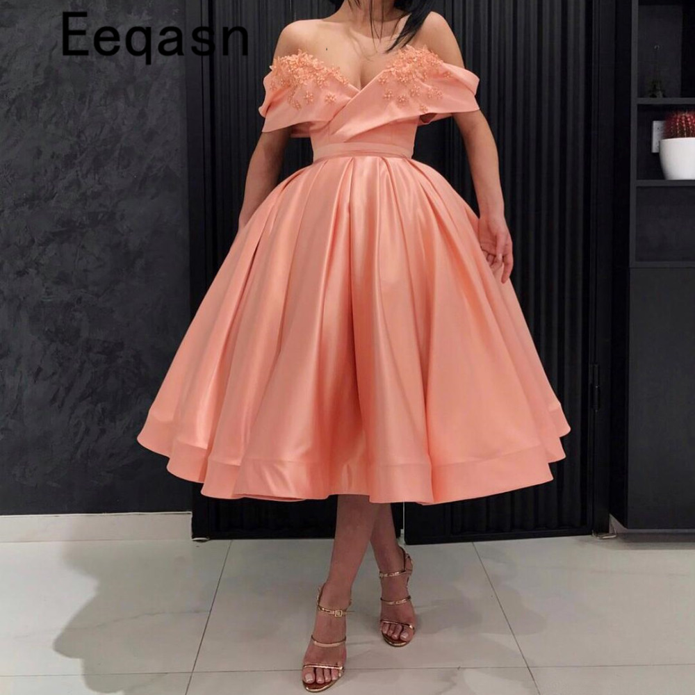Puffy Tea Length Cocktail Dresses 2020 Coral Off Shoulder Flowers Prom Gowns Plus Size Fashion Homecoming Dress Vestido Coctel