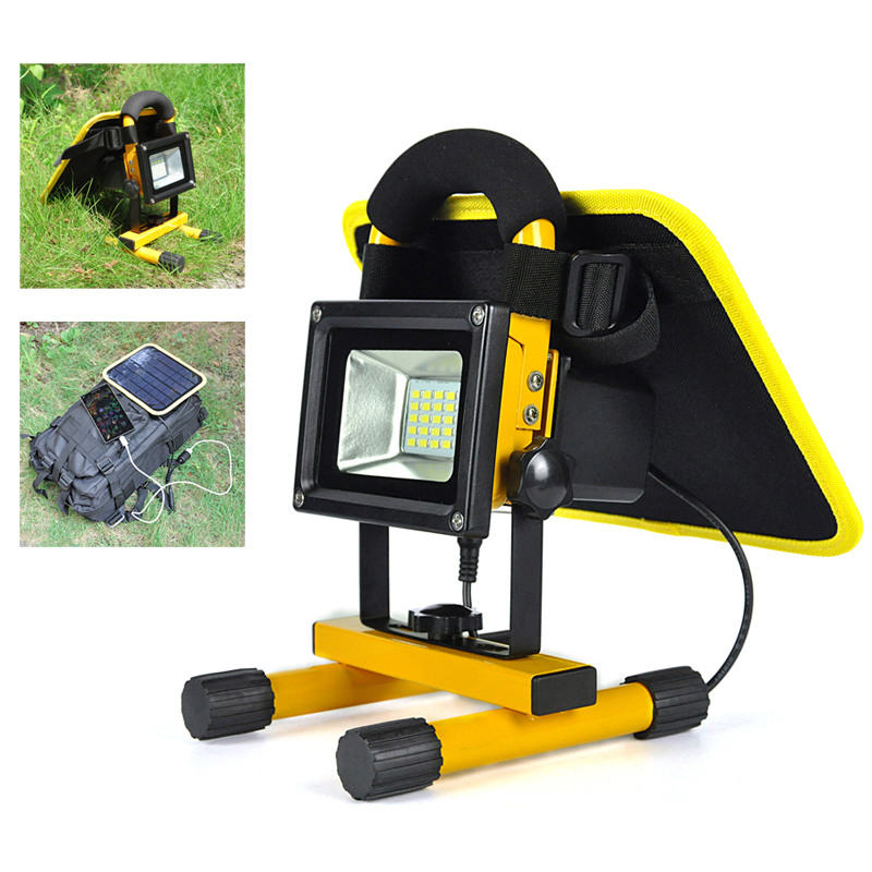 ФОТО 10W Solar Powered 20 LED Rechargeable Flood Light With Solar Panels USB Power Bank Spot Lamp for Outdoor Lighting