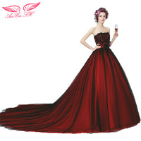 LE CELEBRE Red lace Bordeaux Bridal Tail Evening Dress Beer Dinner Annual Meeting princess evening Dress 6302