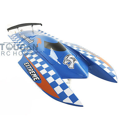 E22 PNP Tiger Teeth Fiber Glass Racing Speed Boat W/2550KV Brushless Motor/ 90A ESC Catamaran RC Boat Blue e22 rtr tiger teeth fiber glass racing speed boat w 2550kv brushless motor 90a esc remote control catamaran rc boat white