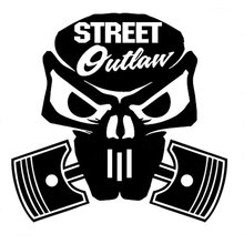 "10.2CM*9.8CM ""Street Outlaw Skull"" Vinyl Decal JDM Hella Flush Funny Car Sticker Car Styling Accessories Black Sliver C8-0685(China)"