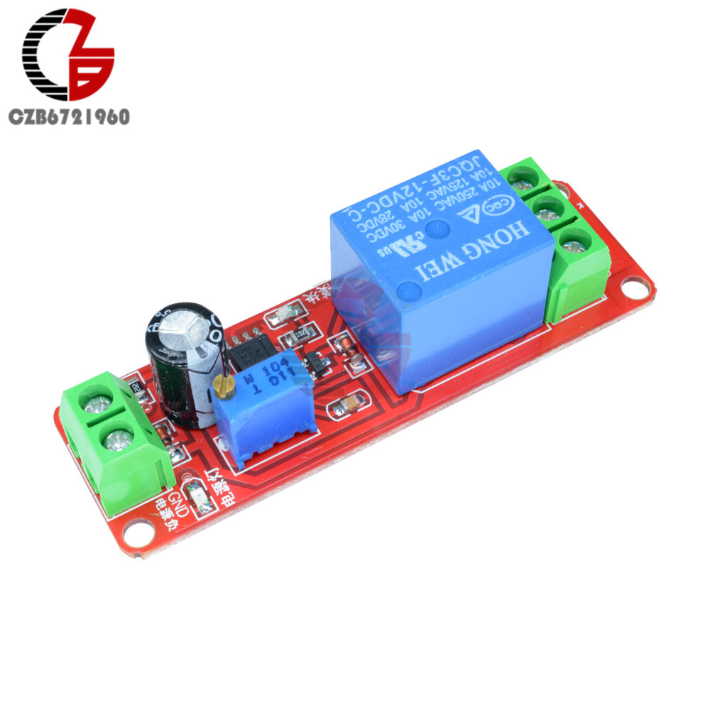 DC 5V 12V Timer Delay Relay Shield Module NE555 Timer Switch Adjustable Controller Module 0 to 10 Second 0~10S Car Oscillator 5v 2 channel ir relay shield expansion board module for arduino with infrared remote controller