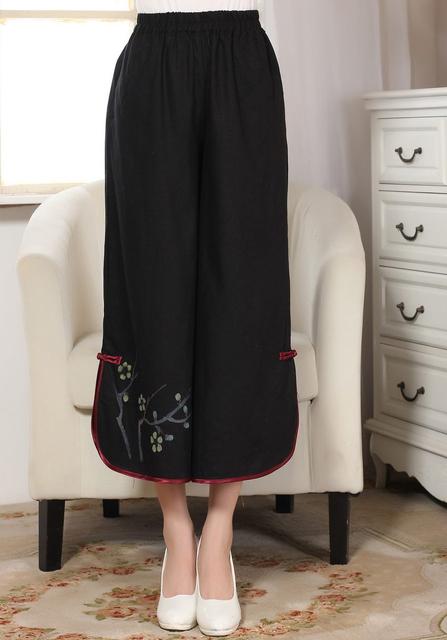 Preto Estilo Chinês Tradicional Impresso Algodão Linho Ampla Perna Da Calça Calças das Mulheres Meados de Cintura Calças Flor Tamanho M L P0012A