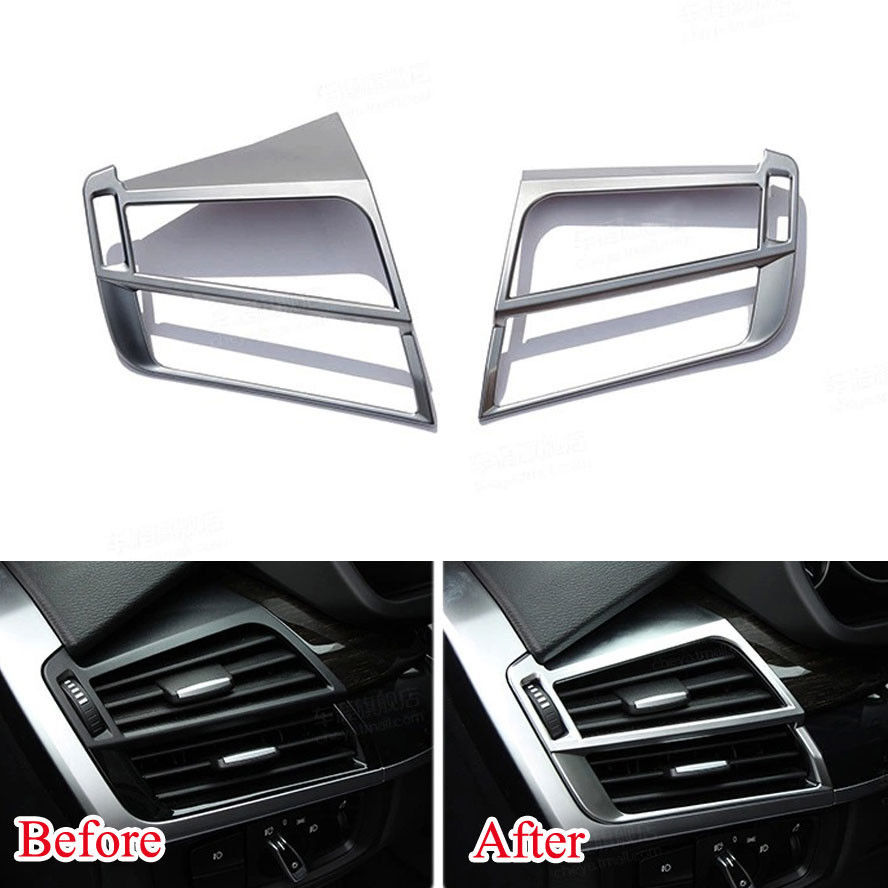 ФОТО 2x ABS Car Inner Dashboard Front Air condition Vent Outlet Covers Trim Styling Sticker Decoration Fit For BMW X5 F15 X6 F16 2015