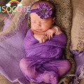 2017 Adereços Fotografia de Recém-nascidos Embrulhar e Headband set Roxo Vermelho Fotografia Bebê Adereços Cobertor Swaddle 0-1year