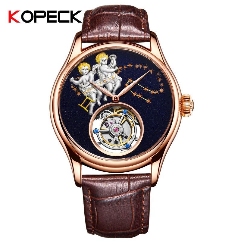 2019 Constellation Gemini montre mécanique hommes en cuir saphir cristal Original montre Tourbillon Top marque montres de mode