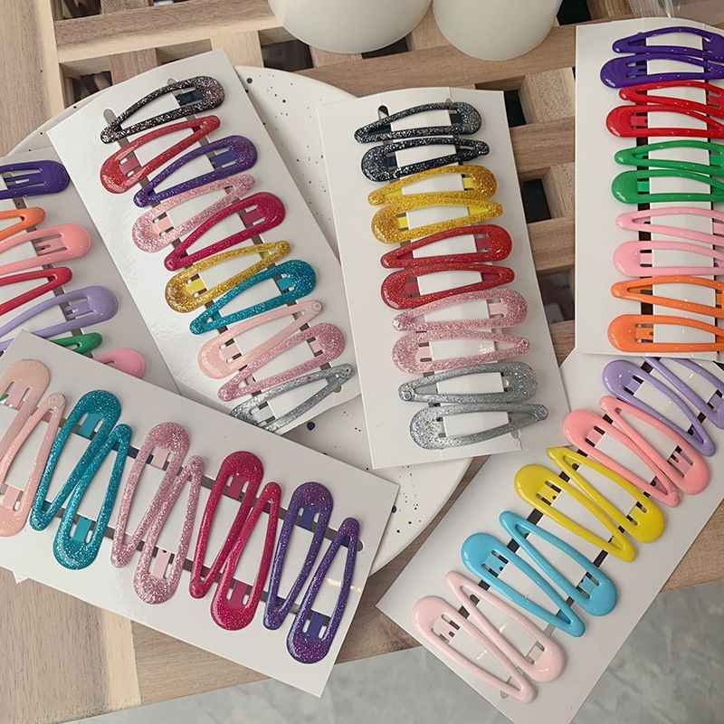 10 PCS New Lovely Cartoon Heart Type Metal Candy Color Girls Hairpins Hair Clip Kids Headwear Children Accessories Baby BB Clips