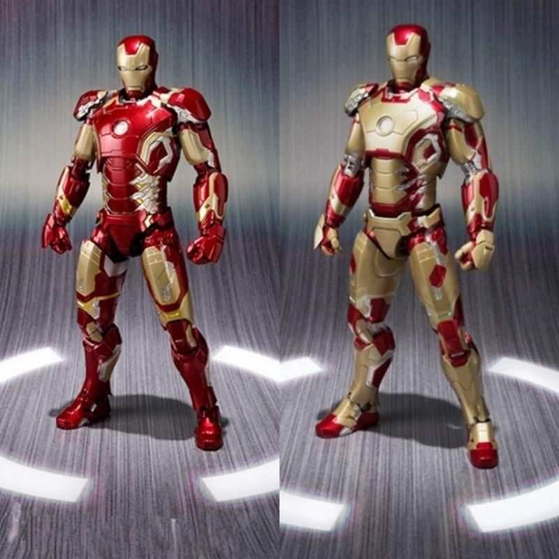 Offre spéciale les Avengers SHF Ironman MK42 $ MK43 rouge et doré Ironman figurine Action jouets Collection poupées pour anniversaires cadeaux 16CM