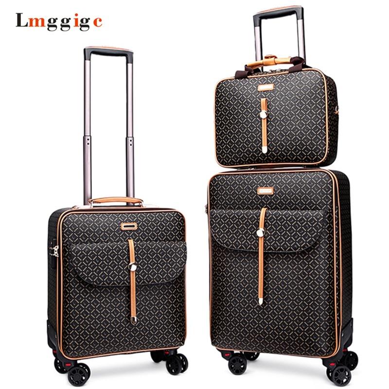 Women Luggage Bag With Handbag Rolling Suitcase Set