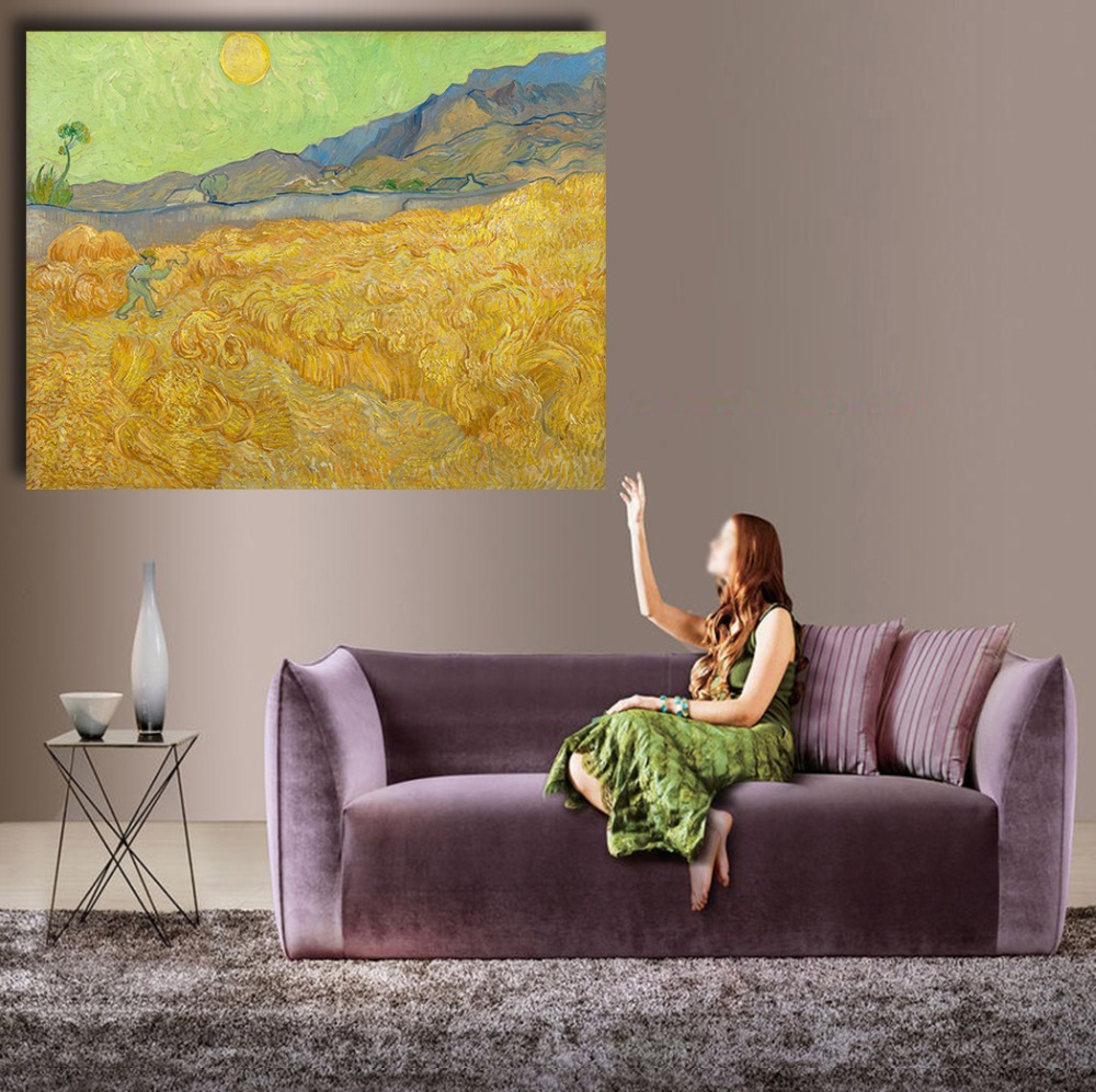 Wheat field with a Reaper Landscape oil painting on Canvas wall painting picture for Living