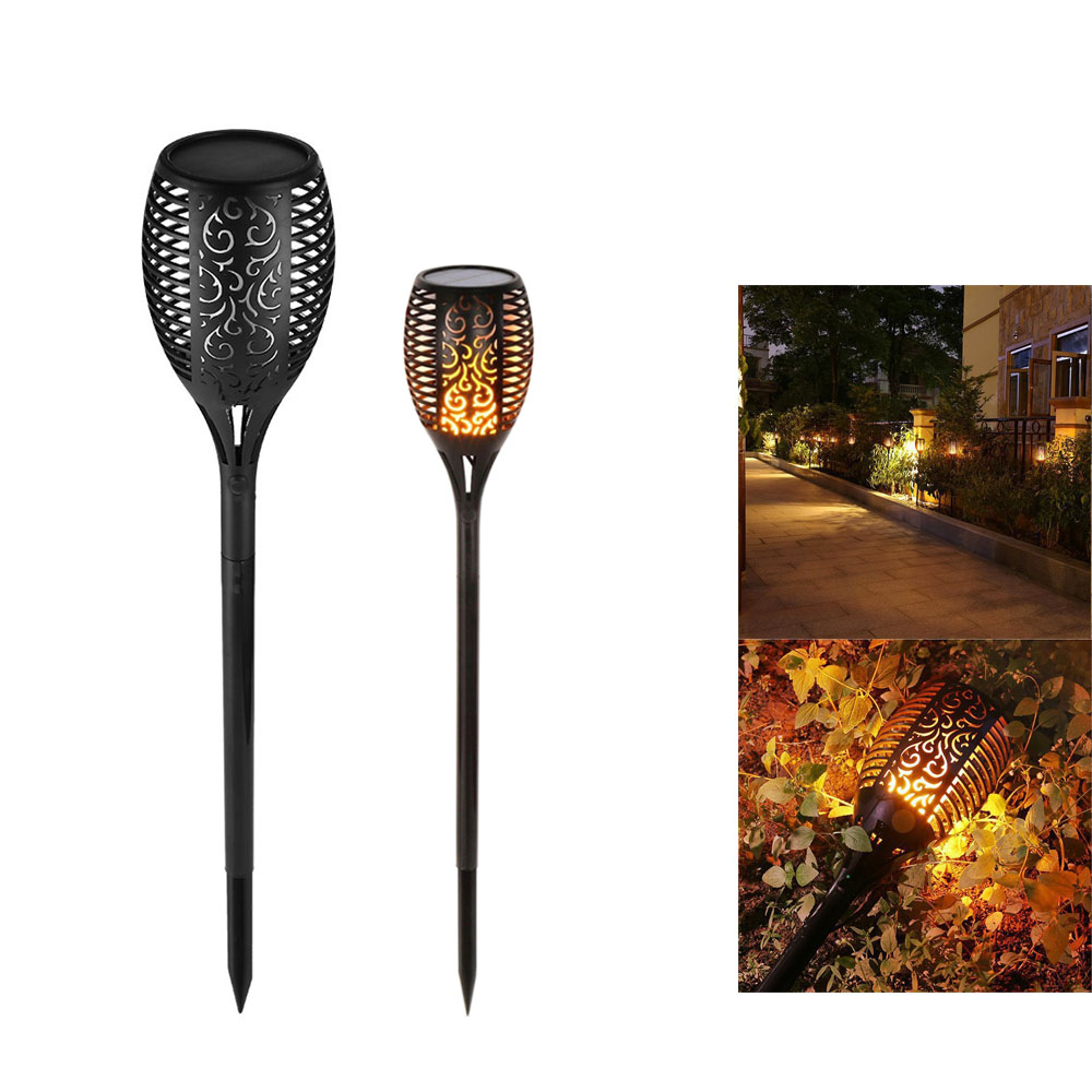 1Pcs/2Pcs LED Solar Flame Light IP65 Outdoor Flickering Flames Led olar Garden Lamp Waterproof Dancing Flame Lawn Decor Lamps hot 96led solar powered flame flickering wall light vintage lamp outdoor waterfproof garden fence door corridor decor
