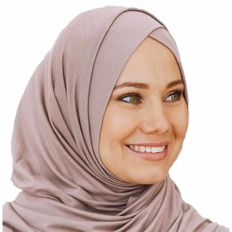 2019 Sciarpa del Hijab Musulmano Jersey Istante per le donne femme musulman Pronto A Indossare di Underscarf Cap Islamica Foulard Wrap testa Sciarpe