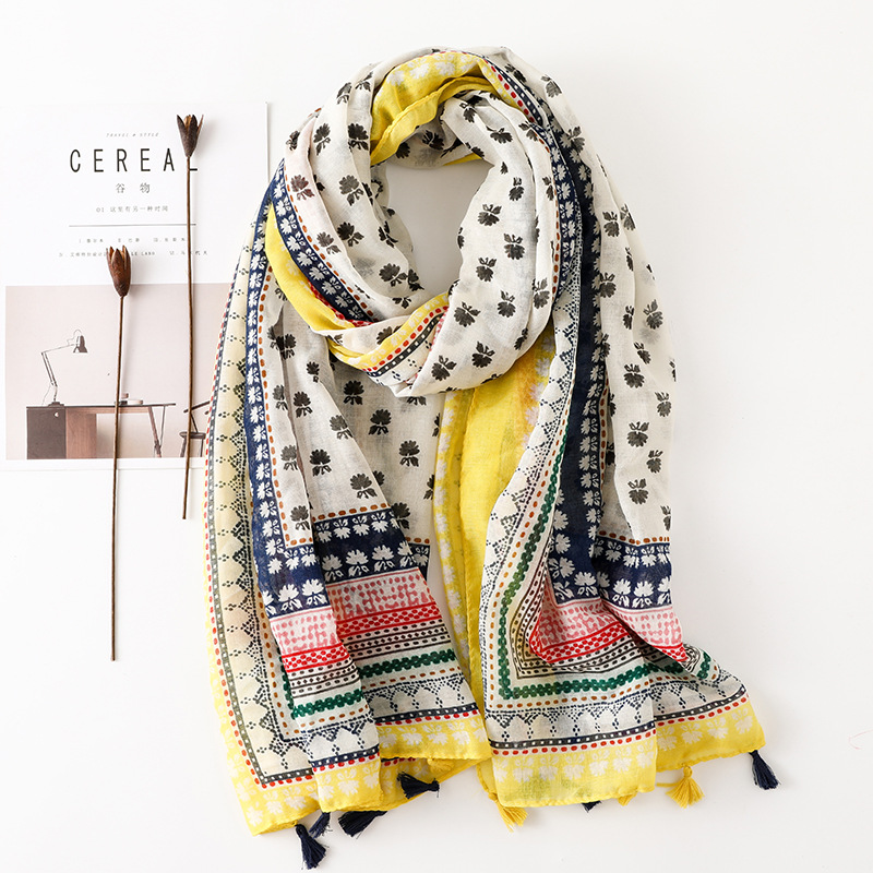 2018 Women Fashion Bohemian Floral Tassel Viscose Shawl   Scarf   Print Headband   Wrap   Pashmina Foulard Muslim Hijab Sjaal 180*90Cm