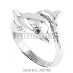Wholesale Lovely Animal Dolphin Ring Stainless Steel Jewelry Silver Finger Biker Women Ring SWR0300A