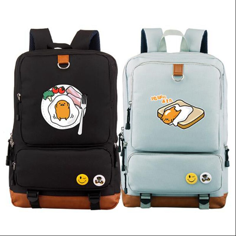 High Quality 2018 New Funny Gudetama Printing Backpack Kawaii School Bags Mochila Feminina Canvas Laptop Backpack Travel Bags hard nuts of history warriors