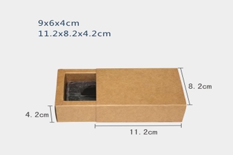 50pcs Pack 9x6x4cm Drawer Kraft Paper Packaging Box For