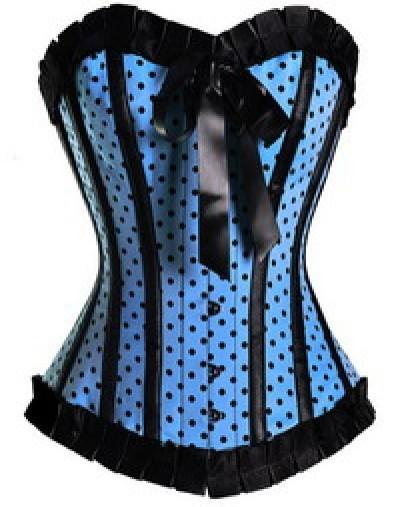 Q5205Blue Burlesque Polka Dot Corset