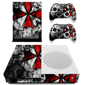 Image 2 - Red and White Umbrella Custom Vinyl Console Cover For Microsoft Xbox One SLIM Skin Stickers Controller Protective For XBOXONE S