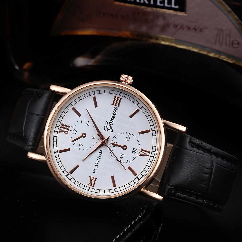 การออกแบบ Retro retro เจนีวานาฬิกาผู้ชายสายคล้องคอหนัง Analog ควอตซ์นาฬิกาข้อมือ 2019 Luxury Mens Sport ราคานาฬิกาชายนาฬิกา