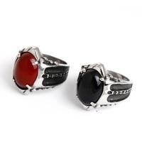 خمر العتيقة الأحمر والأسود حجر البنصر للرجال الأزياء الذكرى المجوهرات هدية خاتم الخطوبة الرجال