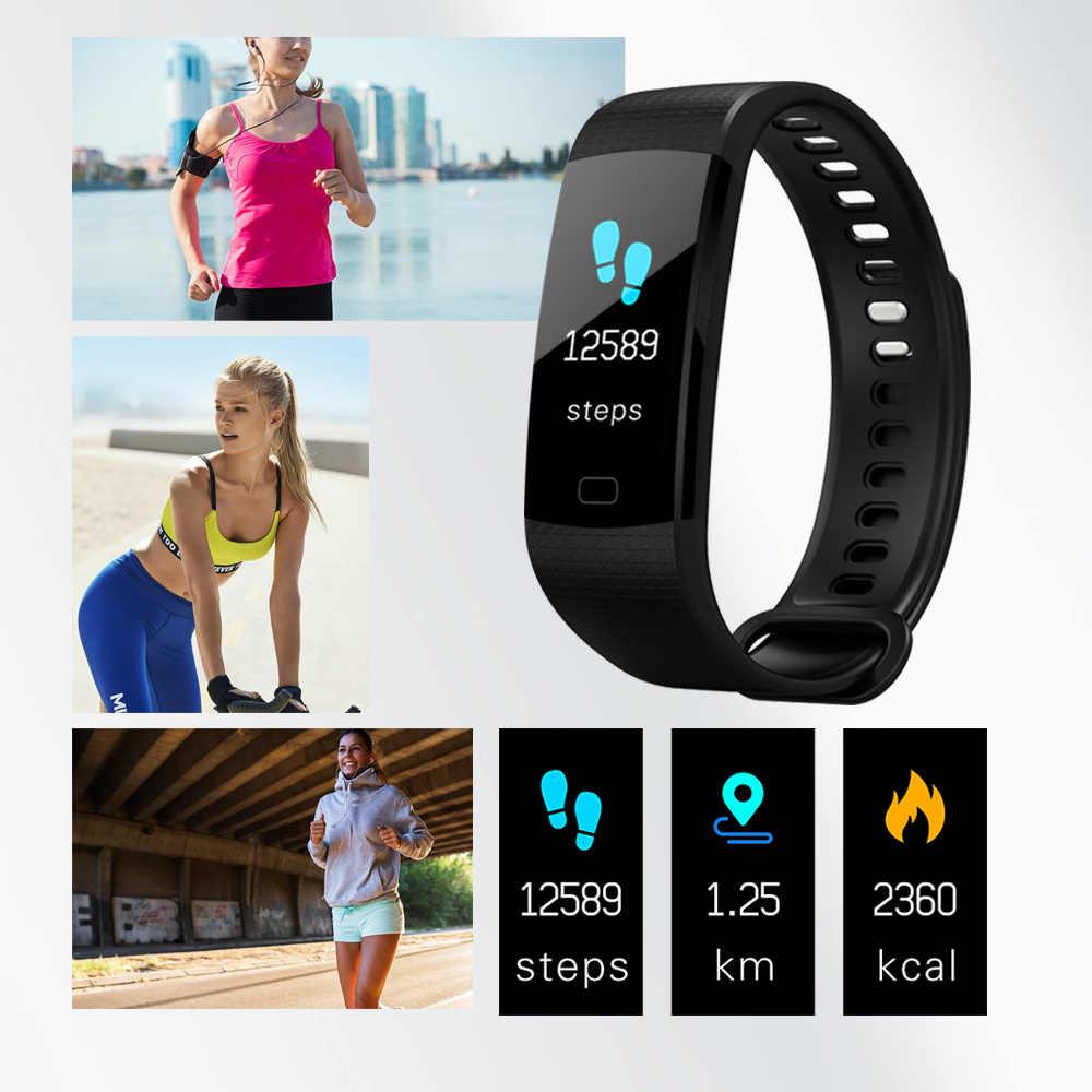 กีฬานาฬิกา Y5 สมาร์ทชายนาฬิกา Heart Rate Tracker ฟิตเนส Smartband สร้อยข้อมือสมาร์ทกันน้ำสมาร์ทสายรัดข้อมือ