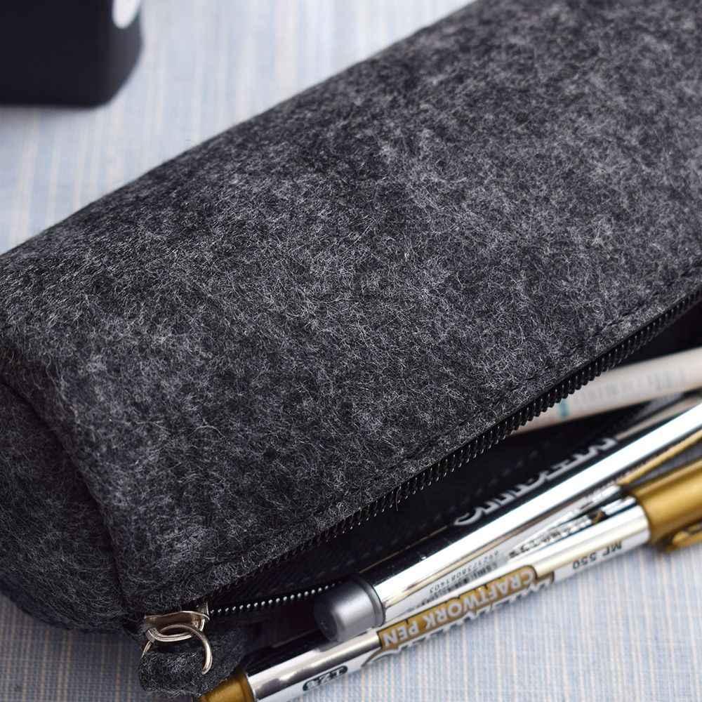 패션 라운드 스퀘어 펠트 메이크업 화장품 가방 브러쉬 펜 연필 케이스 파우치 박스