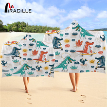 Miracille Printed Dinosaur Towel With Hood Cartoon Cactus Microfiber Wearable Beach For Swim Pool Travel Wrap