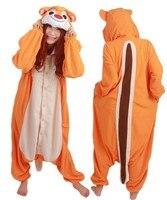 Women and men polar fleece fashion pajamas cartoon chipmunk animal cosplay costume onesies sleepwear adult toilet home service